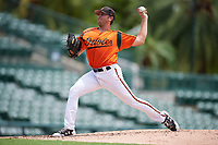 GCL Orioles relief pitcher Ryan Wilson (55) delivers a pitch during a game against the GCL Rays on July 21, 2017 at Ed Smith Stadium in Sarasota, Florida.  GCL Orioles defeated the GCL Rays 9-0.  (Mike Janes/Four Seam Images)