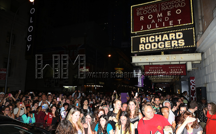 """Fans at the stage door after the First Performance of """"Romeo And Juliet"""" On Broadway at the Richard Rodgers Theatre in New York City on 8/24/2013"""