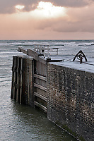 Bude Canal terminates at the sea lock allowing the passage of boats at high tide. First built in 1823, and enlarged in 1835, the lock survived the test of time until it was damaged by a storm surge in 2008 leading to the installation of new lock gates.