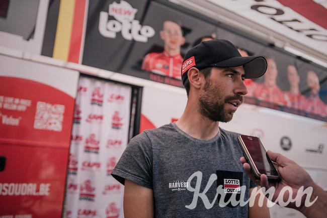 pre-race interview at the teambus for Thomas De Gendt (BEL/Lotto Soudal)<br /> <br /> Stage 10: Annecy > Le Grand-Bornand (159km)<br /> <br /> 105th Tour de France 2018<br /> ©kramon