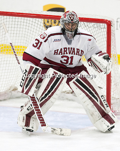 Merrick Madsen (Harvard - 31) - The Harvard University Crimson defeated the visiting Colgate University Raiders 7-4 (EN) on Saturday, February 20, 2016, at Bright-Landry Hockey Center in Boston, Massachusetts,