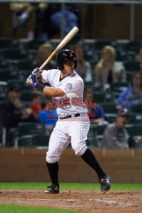 Salt River Rafters catcher Chris Rabago (5) at bat during an Arizona Fall League game against the Glendale Desert Dogs on October 22, 2015 at Salt River Fields at Talking Stick in Scottsdale, Arizona.  Glendale defeated Salt River 7-5.  (Mike Janes/Four Seam Images)