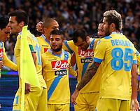 Esultanza  Gonzalo Higuain durante l'incontro di calcio di Serie A  Lazio Napoli   allo  Stadio Olimpico  di Romai , 2 Dicembre 2013<br /> Foto Ciro De Luca