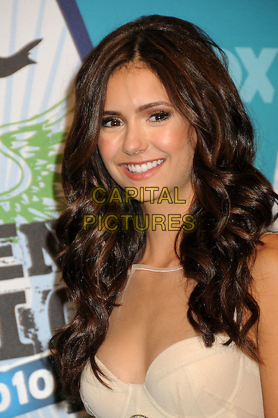 NINA DOBREV .Teen Choice Awards 2010 - Press Room held at Universal Studios Gibson Amphitheatre, Universal City, California, USA, 8th  August 2010..portrait headshot beige sequined sequin bustier cream smiling .CAP/ADM/BP.©Byron Purvis/AdMedia/Capital Pictures.