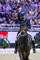 OMAHA, NEBRASKA - APR 1: Steffen Peters gives the crowd a thumbs up after his ride during the FEI World Cup Dressage Final II at the CenturyLink Center on April 1, 2017 in Omaha, Nebraska. (Photo by Taylor Pence/Eclipse Sportswire/Getty Images)