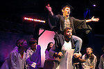"""Jonas Budris, as Bat Boy, is carried on the shoulders of Kemp Peterson in the Harvard-Radcliffe Summer Theatre production of """"Bat Boy,"""" in Cambridge, Mass. The musical is based on a character from the tabloid """"Weekly World News."""""""