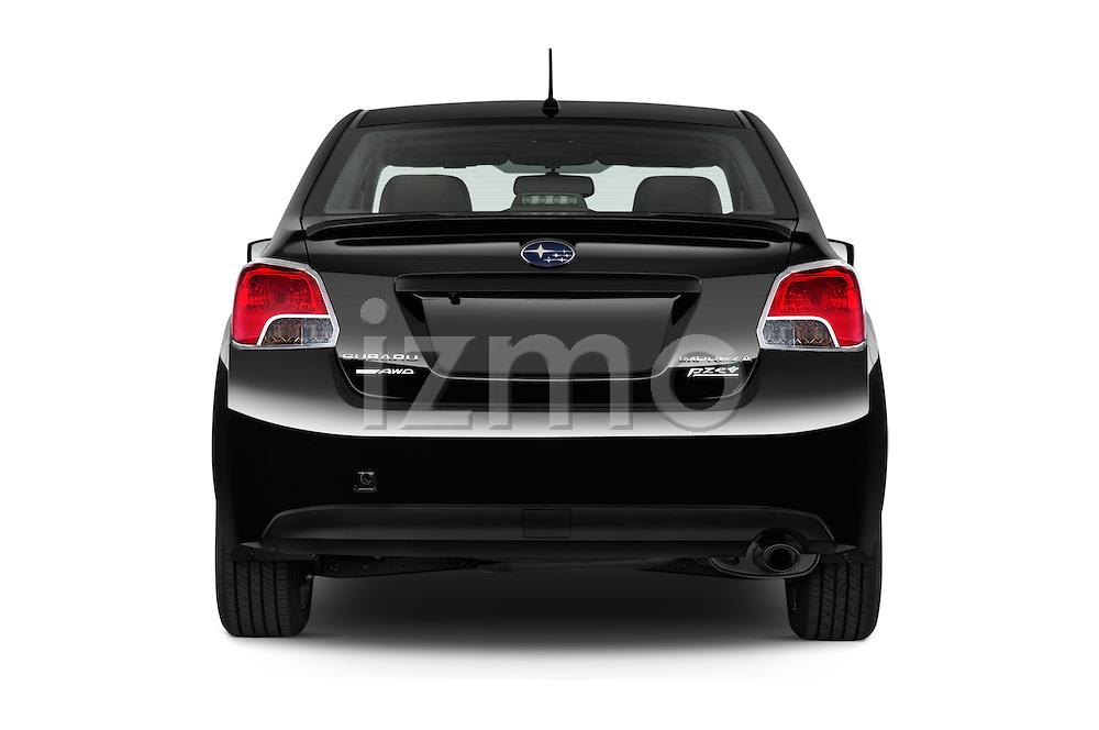 Straight rear view of a 2015 Subaru Impreza 2.0I Premium Auto 4 Door Sedan Rear View  stock images