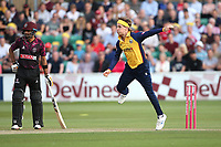 Adam Zampa in bowling action for Essex during Essex Eagles vs Somerset, Vitality Blast T20 Cricket at The Cloudfm County Ground on 7th August 2019
