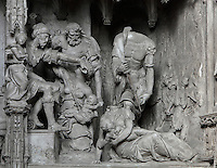 Herod gives the order to kill all baby boys, while soldiers slaughter babies in their mothers' arms. The Massacre of the Innocents, by Francois Marchand of Orleans, 1542-44, from the choir screen, Chartres Cathedral, Eure-et-Loir, France. Chartres cathedral was built 1194-1250 and is a fine example of Gothic architecture. It was declared a UNESCO World Heritage Site in 1979. Picture by Manuel Cohen.