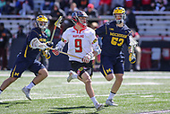 College Park, MD - April 1, 2017: Maryland Terrapins Tyer Rockhill (9) makes a pass during game between Michigan and Maryland at  Capital One Field at Maryland Stadium in College Park, MD.  (Photo by Elliott Brown/Media Images International)