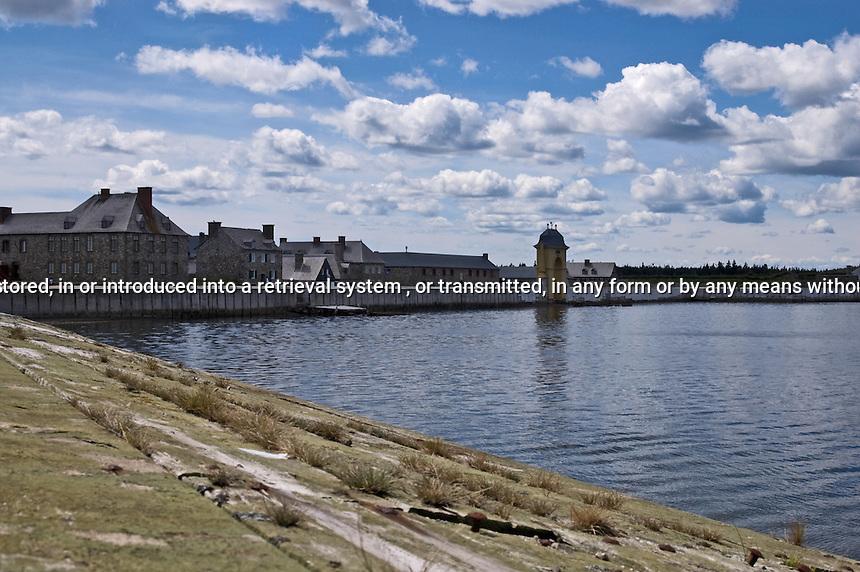 Fortress Louisbourg across the water Cape Breton Nova Scotia Canada North America