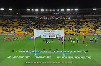 A general view during the ANZAC Day AFL match between St Kilda Saints and Brisbane Lions at Westpac Stadium, Wellington, New Zealand on Friday, 25 April 2014. Photo: Dave Lintott / lintottphoto.co.nz