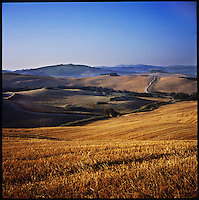 A field in morning sunlight in Saline di Volterra, Italy in the summer of 2007.