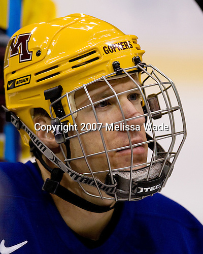 Drew Fisher (Minnesota 25) takes part in the Gophers' morning skate at the Xcel Energy Center in St. Paul, Minnesota, on Friday, October 12, 2007, during the Ice Breaker Invitational.