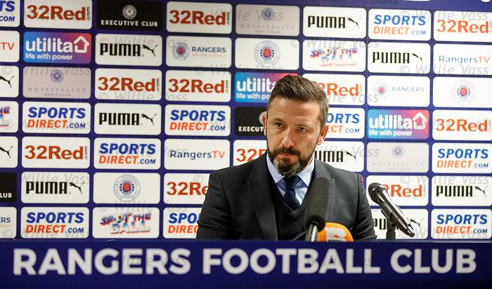 Derek McInnes at the Rangers post match presser at Ibrox tonight