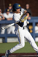 Michigan Wolverines outfielder Jordan Brewer (22) swings the bat against the Rutgers Scarlet Knights on April 26, 2019 in the NCAA baseball game at Ray Fisher Stadium in Ann Arbor, Michigan. Michigan defeated Rutgers 8-3. (Andrew Woolley/Four Seam Images)