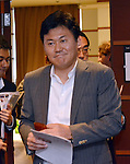 April 2, 2013, Tokyo, Japan - Hiroshi Mikitani, CEO of the e-commerce operator Rakuten, arrives for a news conference at Tokyo's Foreign Correspondents' Club of Japan on Tuesday, April 2, 2013. Mikitani introduced an English-only policy for company communications in May 2010 as part of his push to globalize the Japanese Web commerce firm.  (Photo by Natsuki Sakai/AFLO)