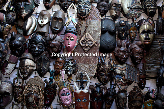 CAPE TOWN, SOUTH AFRICA - MARCH 21: African masks at Greenmarket Square market area on March 21, 2012 in Cape Town, South Africa (Photo by Per-Anders Pettersson)