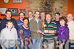 Members of the World Bodhran festival committee presents a schulpture  to Eoin O'Shea in recognition of his hard work at their annual table quiz in Costello's bar Milltown on Friday night l-r: Kevin Cronin, Mike Cronin, Margaret Wrenn, John Clifford, Ray Nolan, Eoin O'Shea, Liam Hurley, Dan Cronin, Tim Wrenn, Mary and Ken O'Neill