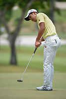 Takumi KANAYA (JPN) watches his putt on 11 during Rd 4 of the Asia-Pacific Amateur Championship, Sentosa Golf Club, Singapore. 10/7/2018.<br /> Picture: Golffile | Ken Murray<br /> <br /> <br /> All photo usage must carry mandatory copyright credit (&copy; Golffile | Ken Murray)
