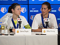 Houston, TX - Sunday Oct. 09, 2016: Sabrina D'Angelo, Abby Erceg after the National Women's Soccer League (NWSL) Championship match between the Washington Spirit and the Western New York Flash at BBVA Compass Stadium. The Western New York Flash win 3-2 on penalty kicks after playing to a 2-2 tie.