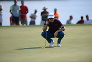 Gainesville, VA - August 2, 2015:  Justin Rose lines up a putt on the 16th hole at the Robert Trent Jones Golf Club in Gainesville, VA. August 2, 2015.  (Photo by Philip Peters/Media Images International)
