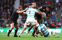 England's Courtney Lawes is tackled by Argentina's Marcos Kremer and Argentina's Pablo Matera<br /> <br /> Photographer Rachel Holborn/CameraSport<br /> <br /> International Rugby Union Friendly - Old Mutual Wealth Series Autumn Internationals 2017 - England v Argentina - Saturday 11th November 2017 - Twickenham Stadium - London<br /> <br /> World Copyright &copy; 2017 CameraSport. All rights reserved. 43 Linden Ave. Countesthorpe. Leicester. England. LE8 5PG - Tel: +44 (0) 116 277 4147 - admin@camerasport.com - www.camerasport.com