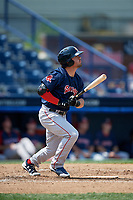 Portland Sea Dogs third baseman Chad De La Guerra (43) follows through on a swing during the second game of a doubleheader against the Reading Fightin Phils on May 15, 2018 at FirstEnergy Stadium in Reading, Pennsylvania.  Reading defeated Portland 9-8.  (Mike Janes/Four Seam Images)