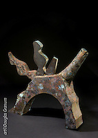 """Horse and Rider"", Fabricated bronze sculpture with patina by artist Douglas Granum incorporating; www.douglasgranum.com"