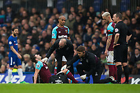 West Ham United's Aaron Cresswell down injured <br /> <br /> Photographer Craig Mercer/CameraSport<br /> <br /> The Premier League - Chelsea v West Ham United - Sunday 8th April 2018 - Stamford Bridge - London<br /> <br /> World Copyright &copy; 2018 CameraSport. All rights reserved. 43 Linden Ave. Countesthorpe. Leicester. England. LE8 5PG - Tel: +44 (0) 116 277 4147 - admin@camerasport.com - www.camerasport.com