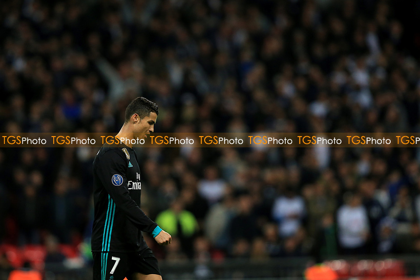 A deflated Cristiano Ronaldo of Real Madrid leaves the pitch after defeat during Tottenham Hotspur vs Real Madrid, UEFA Champions League Football at Wembley Stadium on 1st November 2017