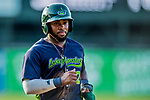16 July 2017: Vermont Lake Monsters outfielder Logan Farrar, a 36th round draft pick for the Oakland Athletics, returns to the dugout during a game against the Auburn Doubledays at Centennial Field in Burlington, Vermont. The Monsters defeated the Doubledays 6-3 in NY Penn League action. Mandatory Credit: Ed Wolfstein Photo *** RAW (NEF) Image File Available ***