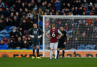 30th November 2019; Turf Moor, Burnley, Lanchashire, England; English Premier League Football, Burnley versus Crystal Palace;referee Geter Bankes consukts VAR as Ben Mee and Nick Pope of Burnley look on before disallowing the goal by Jordan Ayew of Crystal Palace