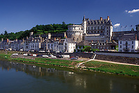 castle, Amboise, France, Loire Valley, Loire Castle Region, Indre-et-Loire, Europe, 15th century Chateau Amboise along the Loire River in the city of Amboise.