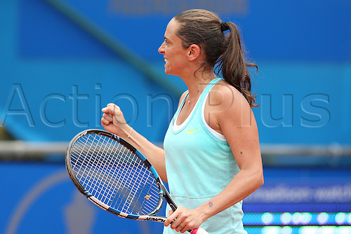 21.05.2015. Nuremberg, Germany. WTA Nuremberg Open tournament.  Roberta Vinci of Italy celebrates her victory at the quarter finals match against Nara of Japan in Nuremberg, Germany, 21 May 2015.