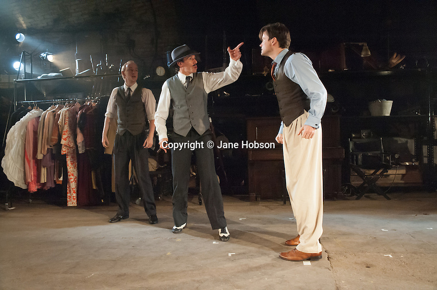 London, UK. 10.07.2012. MACK & MABEL opens at Southwark Playhouse. Picture shows:  Stuart Matthew Price (as Frank), Steven Serlin (as Kessel) and Norman Bowman (as Mack). Photo credit: Jane Hobson.