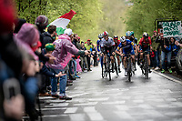 Michał Kwiatkowski (POL/SKY), Julian ALAPHILIPPE (FRA/Deceuninck-Quick Step) & Vincenzo NIBALI (ITA/Bahrain-Merida) up the last (categorised) climb of the day; the Côte de la Roche-aux-Faucons<br /> <br /> 105th Liège-Bastogne-Liège 2019 (1.UWT)<br /> One day race from Liège to Liège (256km)<br /> <br /> ©kramon