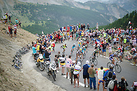 yellow jersey Vincenzo Nibali (ITA/Astana) is still accompanied by 2 teammates up the final bends of the Col d'Izoard (HC/19km/6%); the highest peak in the 101th Tour<br /> <br /> 2014 Tour de France<br /> stage 14: Grenoble - Risoul (177km)