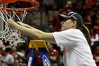 BERKELEY, CA - MARCH 30: Jeanette Pohlen cuts down the net following Stanford's 74-53 win against the Iowa State Cyclones on March 30, 2009 at Haas Pavilion in Berkeley, California.
