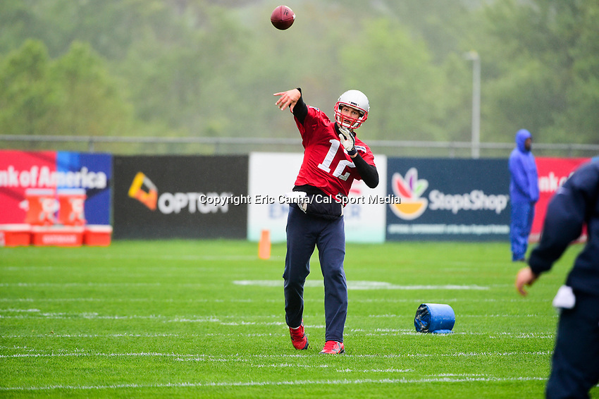 June 6, 2017: New England Patriots quarterback Tom Brady (12) throws a pass at the New England Patriots mini camp held on the practice field at Gillette Stadium, in Foxborough, Massachusetts. Eric Canha/CSM