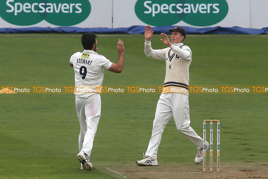 Kent bowler, Grant Stewart celebrates taking the wicket of Surrey's Dean Elgar during Surrey CCC vs Kent CCC, Specsavers County Championship Division 1 Cricket at the Kia Oval on 7th July 2019