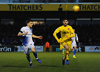 Fleetwood Town's Ched Evans vies for possession with Bristol Rovers' Tom Lockyer<br /> <br /> Photographer Kevin Barnes/CameraSport<br /> <br /> The EFL Sky Bet League One - Bristol Rovers v Fleetwood Town - Saturday 22nd December 2018 - Memorial Stadium - Bristol<br /> <br /> World Copyright &copy; 2018 CameraSport. All rights reserved. 43 Linden Ave. Countesthorpe. Leicester. England. LE8 5PG - Tel: +44 (0) 116 277 4147 - admin@camerasport.com - www.camerasport.com