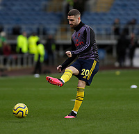 2nd February 2020; Turf Moor, Burnley, Lanchashire, England; English Premier League Football, Burnley versus Arsenal; Shkodran Mustafi of Arsenal warms up - Strictly Editorial Use Only. No use with unauthorized audio, video, data, fixture lists, club/league logos or 'live' services. Online in-match use limited to 120 images, no video emulation. No use in betting, games or single club/league/player publications