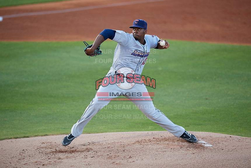 Jacksonville Jumbo Shrimp starting pitcher McKenzie Mills (19) during a Southern League game against the Mobile BayBears on May 7, 2019 at Hank Aaron Stadium in Mobile, Alabama.  Mobile defeated Jacksonville 2-0.  (Mike Janes/Four Seam Images)