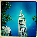 Ciera Holzenthal Photography, iphoneography, clock tower, sidewalk, blue, green, blue sky