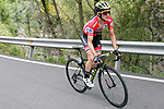 Race leader Simon Yates (GBR) Mitchelton-Scott on the final climb of Stage 20 of the La Vuelta 2018, running 97.3km from Andorra Escaldes-Engordany to Coll de la Gallina, Spain. 15th September 2018.                   <br /> Picture: Unipublic/Photogomezsport | Cyclefile<br /> <br /> <br /> All photos usage must carry mandatory copyright credit (© Cyclefile | Unipublic/Photogomezsport)