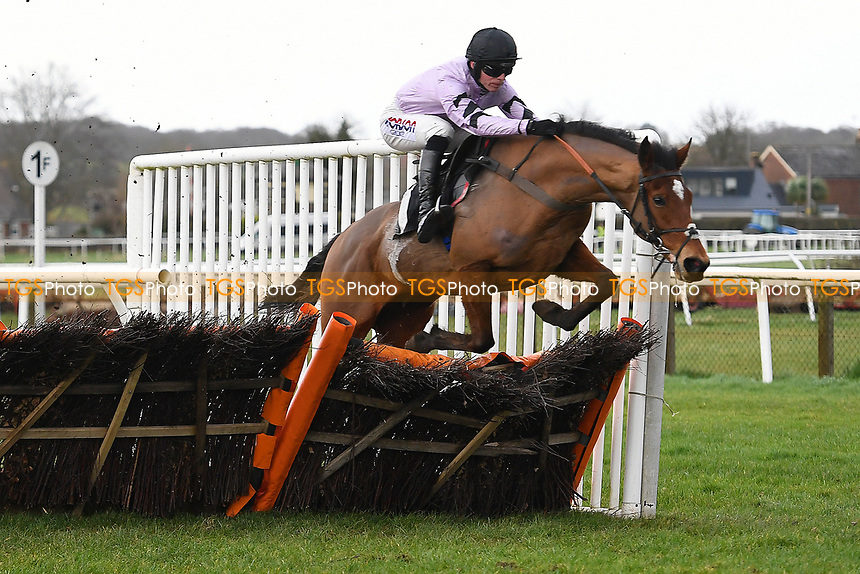Winner of The That Friday-Ad Feeling Novices' Hurdle   Calva D'Auge ridden by Harry Cobden and trained by Paul Nicholls during Horse Racing at Plumpton Racecourse on 10th February 2020