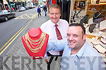 GOING FOR GOLD: Jeweller Stephen.Donnelly (left) with security guard.Caoimhin O'Donoghue, who stopped.smash and grab raid on the shop..GOING FOR GOLD: Jeweller Stephen.Donnelly (left) with security guard.Caoimhin O'Donoghue, who stopped.smash and grab raid on the shop.