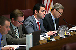 Nevada Senate Revenue committee members, from left, fiscal analyst Russell Guindon, Sens. Ben Kieckhefer, R-Reno, Ruben Kihuen, D-Las Vegas, and Greg Brower, R-Reno, work in a hearing at the Legislative Building in Carson City, Nev., on Tuesday, March 31, 2015. <br /> Photo by Cathleen Allison