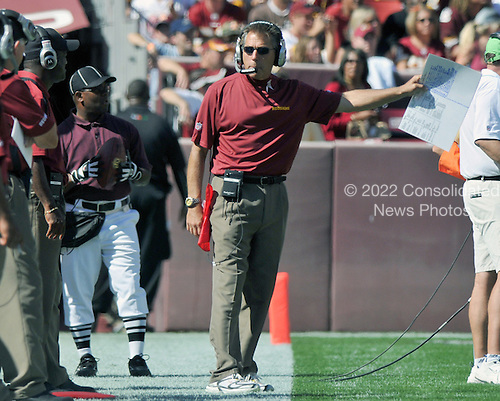 Landover, MD - October 12, 2008 -- Washington Redskins head coach Jim Zorn stalks the sidelines during the game against the St. Louis Rams at FedEx Field in Landover, Maryland on Sunday, October 12, 2008.  The Rams won the game 19 - 17..Credit: Ron Sachs / CNP
